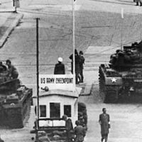 Checkpoint Charlie, Berlin, West Germany, during the Cold War